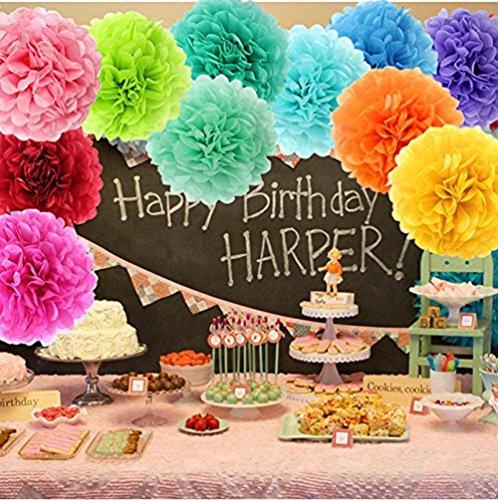 Dot Garland 8 Pompom Flowers 6 Heart-Shaped Balloons Rainbow esafio Birthday Party Decorations 12 Round Balloons Happy Birthday Banner Heart Garland