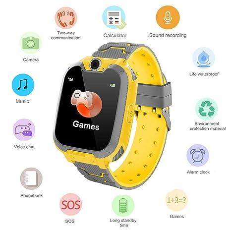 Umiwe Niños Musica Smartwatch, Impermeable Reloj Inteligente Pantalla Táctil con Llamada Socorro Chat Voz Cámara Despertador Juegos Flash Reloj de ...