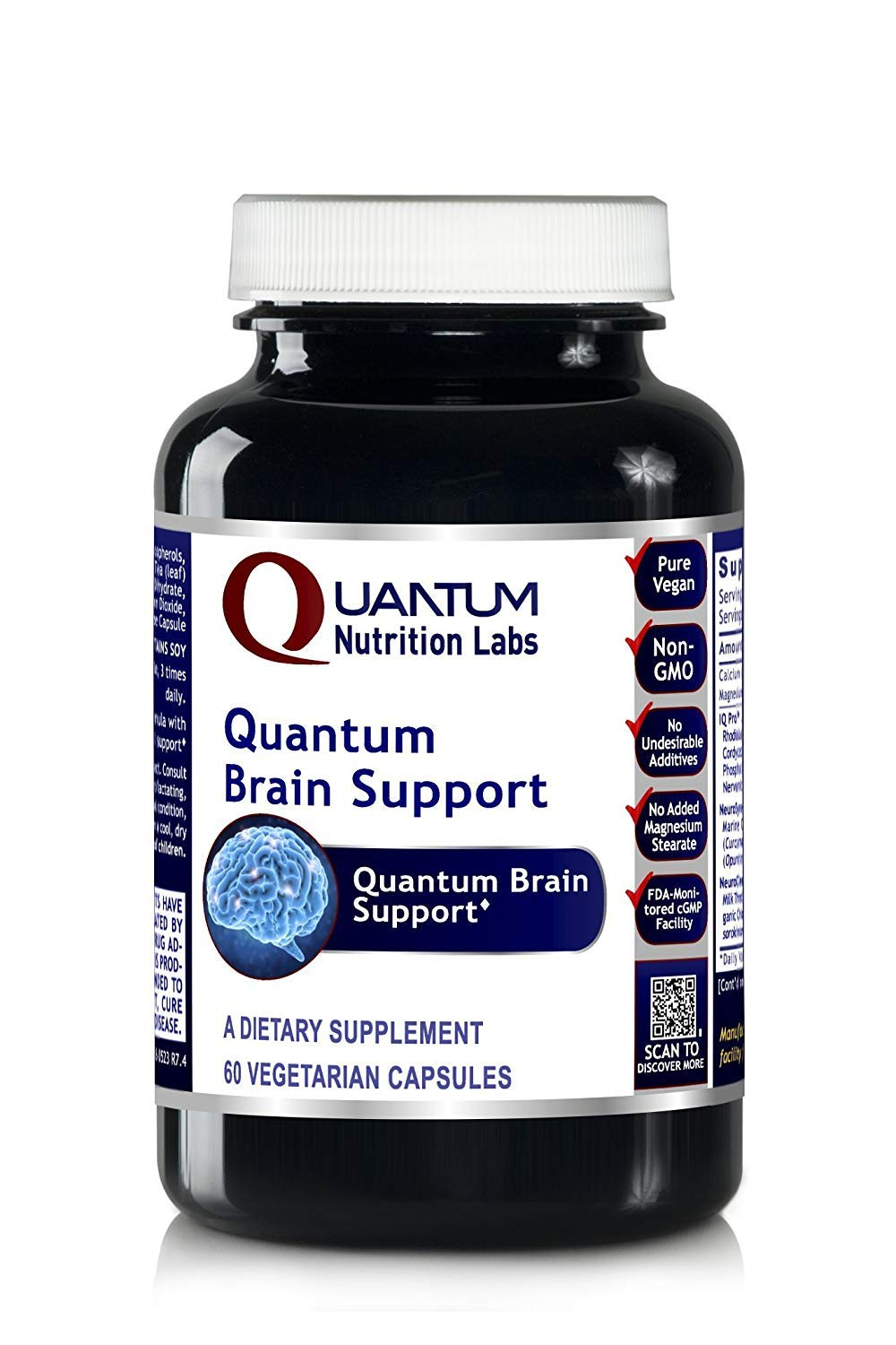 Quantum Brain Support, 240 VCaps 4 Bottles - Quantum-State Brain/Cereven Support for Mental Performance, Concentration and Memory