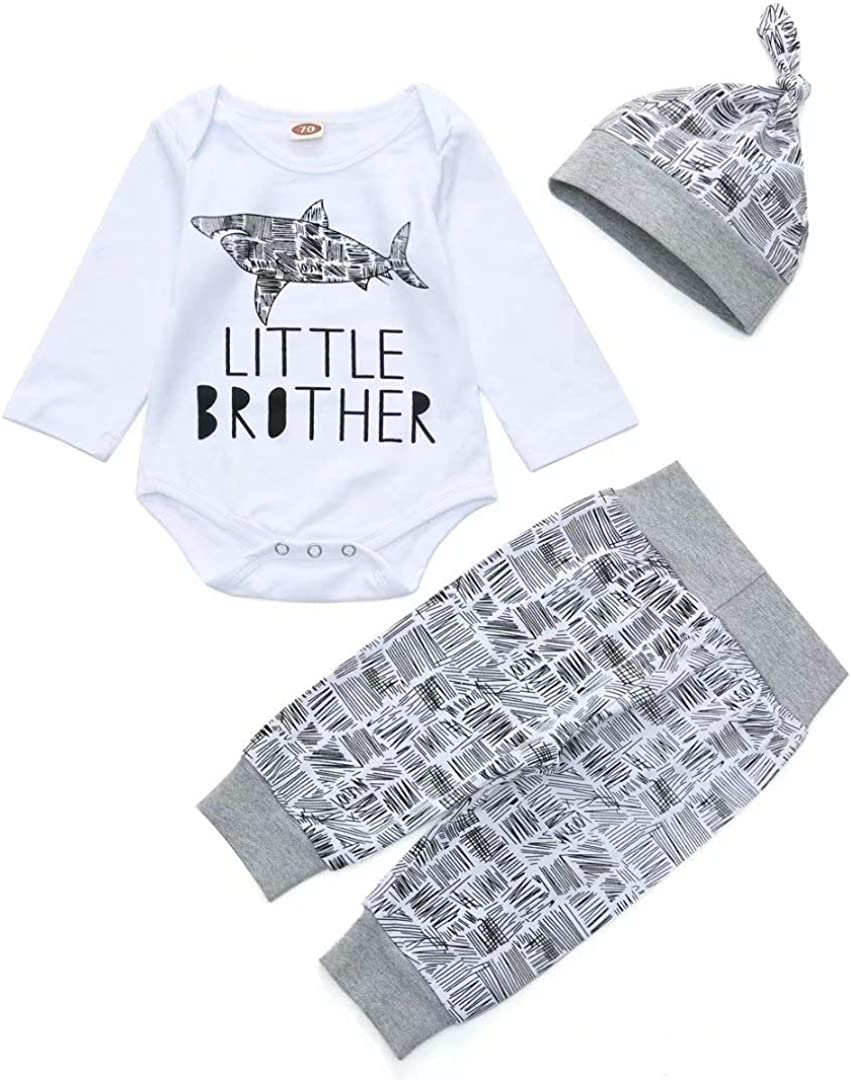 Dimoybabe Newborn Baby Boy Clothes Infant Outfits Cotton Cute Trendy Romper + Pants + Headband + Hat 3 Pcs
