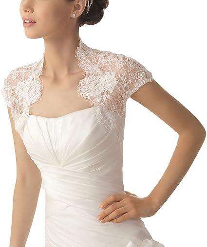 Lace Bolero Wedding Jackets White Ivory Plus Size Bridal Wraps 3//4 Sleeves Short