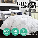 Giselle Bedding Quilt 800GSM Bamboo and Hollow Fiber Filling Highly Breathable Pure Soft Microfibre Duvet Cover and Baffle Box Design Suitable for Winter - Super King Size White Colour