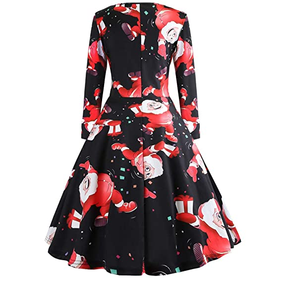 Women Dresses Godathe Christmas Womens Long Sleeve O Neck Printing Vintage Gown Evening Party Dress S-XXL at Amazon Womens Clothing store: