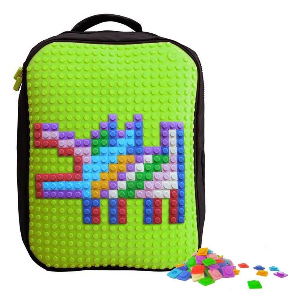 Upixel Classic Backpack – DIY Pixel Art – School Laptop Bag with Multi Pockets – Green