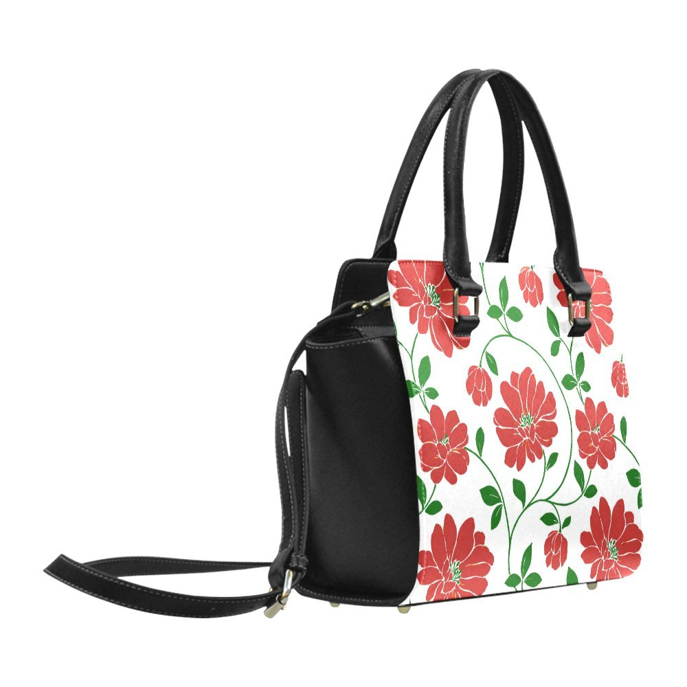 Interestprint Custom Red Flowers Cute Floral Wallpaper Classic Women Top Handbag Shoulder Bag