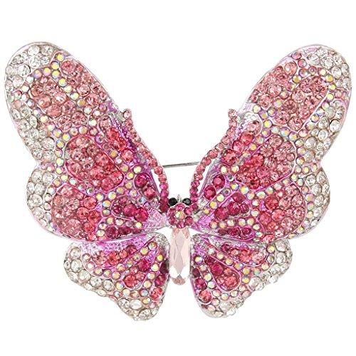 EVER FAITH Women's Austrian Crystal Butterfly Brooch Pink Silver-Tone ()
