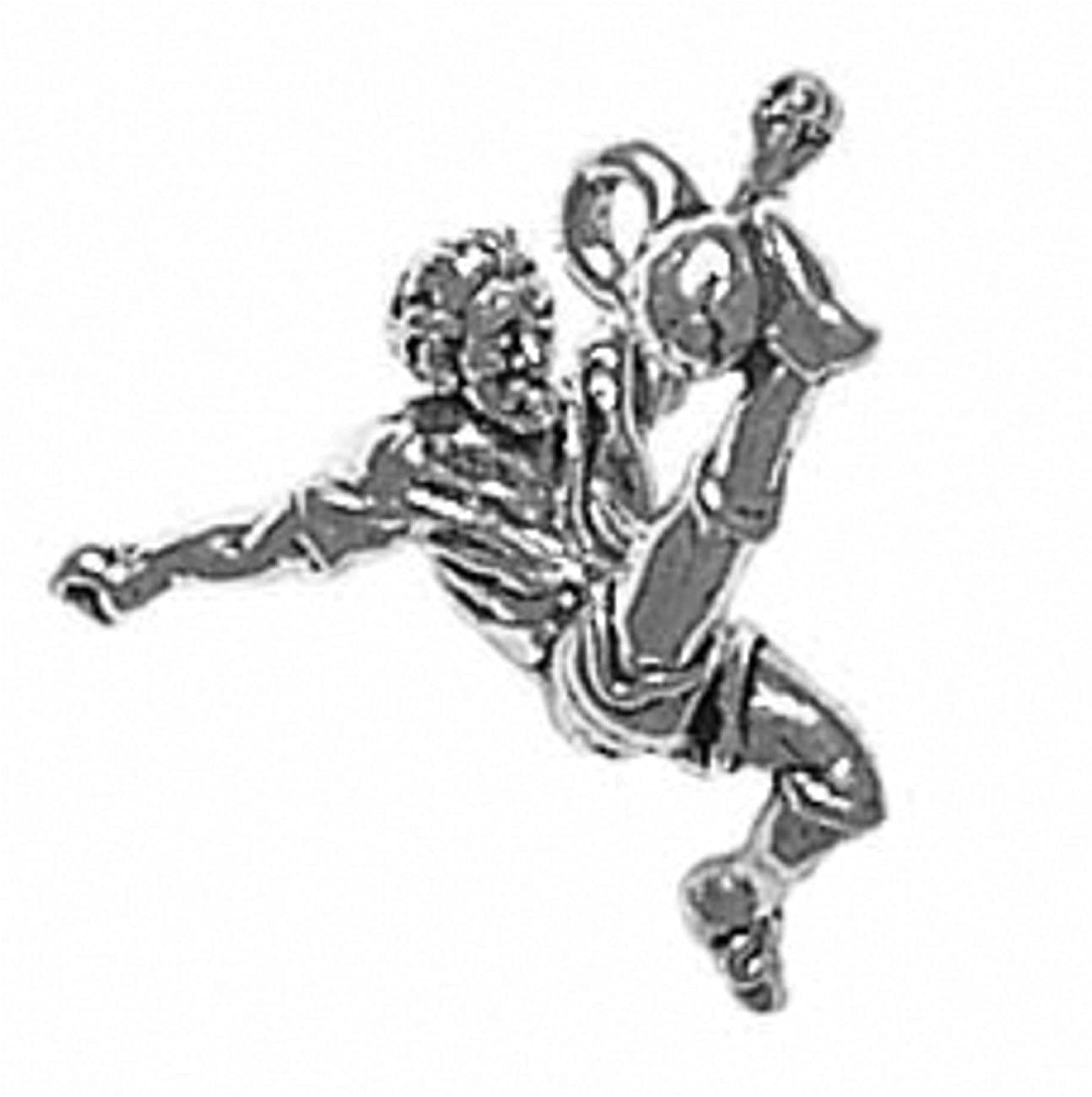 Sterling Silver Girls .8mm Box Chain 3D Male Soccer Player Kicking Ball Pendant Necklace