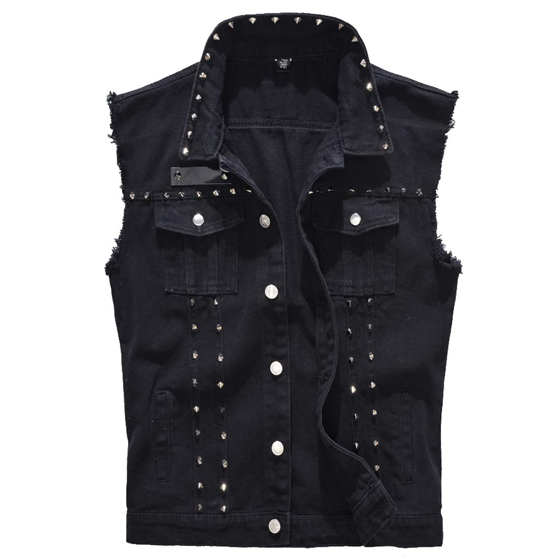 TeamWorld Mens Spring Summer Destroyed Vintage Denim Jacket Waistcoat Blouse Vest Top,Boys Retro Rivet Sleeveless Denim Gilets