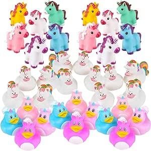 Unicorn Party Supplies - 36 Piece Unicorn Rubber Ducks & Vinyl Squirt Toys Variety Assortment Pack - Girls Birthday Party Favors - Bulk Bath Toys for Kids