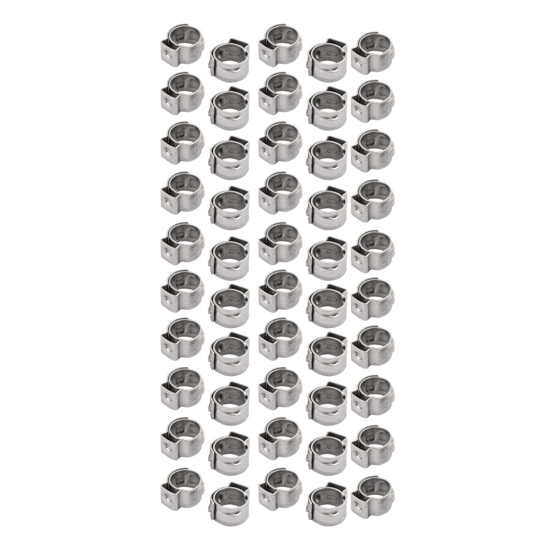uxcell 5.3mm-6.5mm 304 Stainless Steel Adjustable Tube Hose Clamps Silver Tone 50pcs