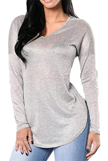23257ea209a7 Pandapang Womens Pure Color V-Neck Patched Vogue Long Sleeve Elbow Side  Split Tops Casual T-Shirts at Amazon Women's Clothing store: