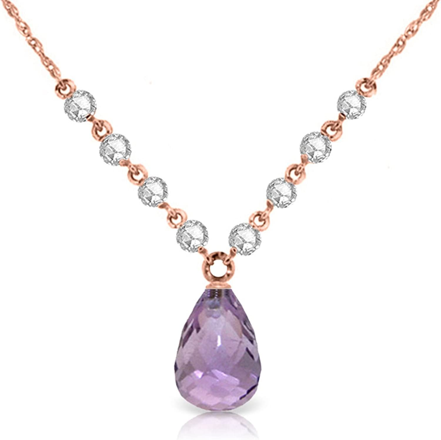 ALARRI 14K Solid Rose Gold Necklace w// Natural Diamond /& Purple Amethyst with 20 Inch Chain Length