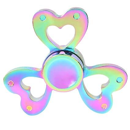 B965 Fidget Spinner Hand Spinning EDC Focus Stress Reducer Toy Perfect Girls Gift Rainbow Heart