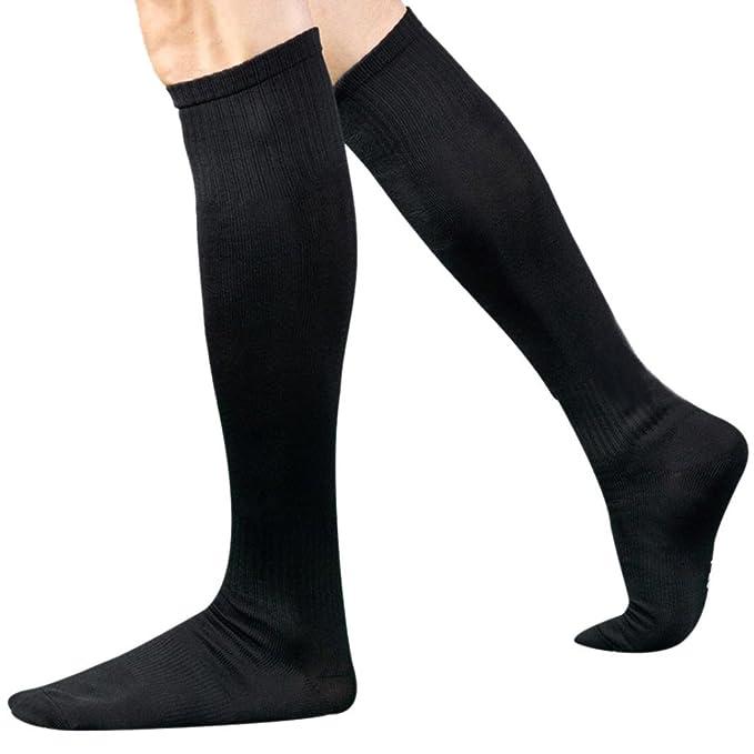 Malloom® Hombres Deportes Fútbol calcetines largos de alta calcetín Béisbol Hockey (negro)