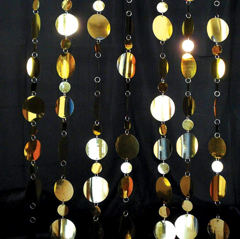 Golden Circles Curtain Hanging Decoration, 36 Inches x 8 Feet