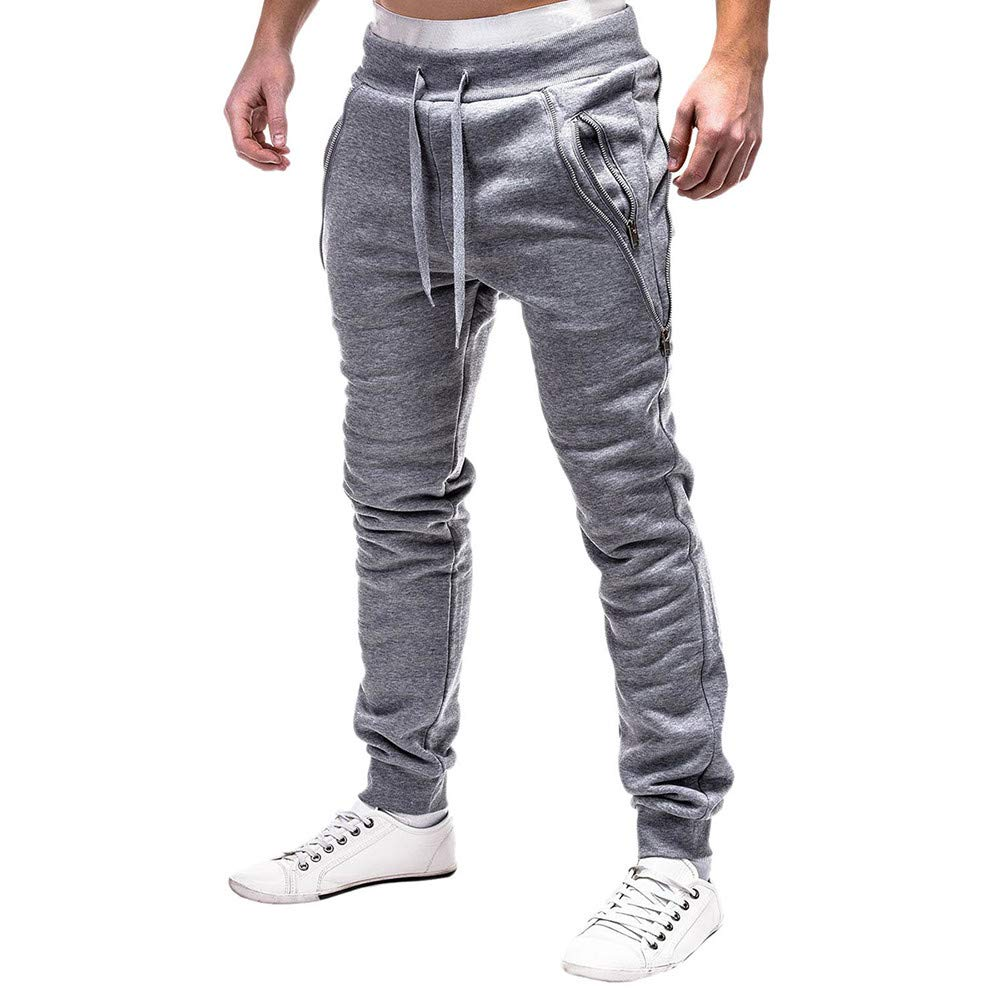 WOCACHI Mens Jogger Pants Sweatpants Skinny Elastic Zip Pockets Sports Trousers WOCACHI-181018