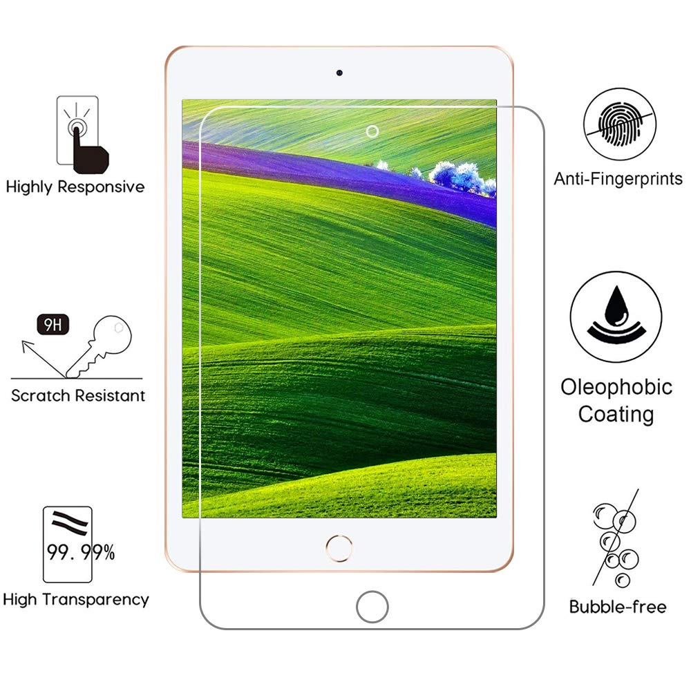 2 Pack High Definition 9H Hardness Tempered Glass Film iPad Mini Screen Protector 2012//2013//2014 Oldest Version 7.9 inch only for iPad Mini 1 2 3