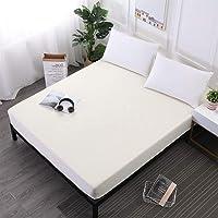YWCXMY-LDL Einfarbig Wasserdicht Spannbetttuch Atmungsaktiv Matratzenbezug Protector for Bettnässen Hause Dekorative 7 Farbe (Color : Beige, Size : 180x200x30cm)