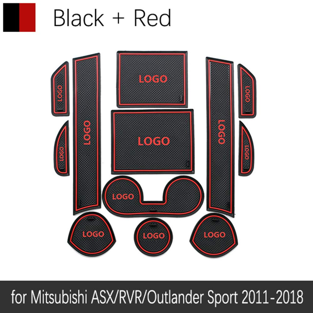 QSONGL Anti-Rutsch-Gummi Cup Cushion T/ürnut Matte f/ür Mitsubishi ASX RVR Outlander Sport 2011~2019 2015 Zubeh/ör Matte f/ür
