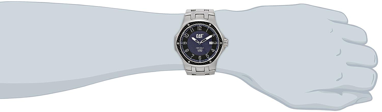 Men'Cat Navigo Carbon-Datum Herren Quarzuhr mit blauem Zifferblatt Analog-Anzeige und Silber-Edelstahl-Armband A
