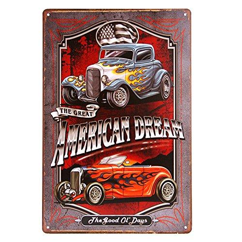 dingleiever DL- American Dream TIN Sign Hotrod VTG Car Metal Garage Wall Decor ()