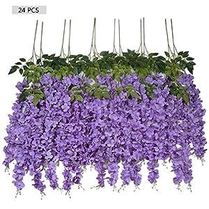 Ivalue 24 Bundles 3.6 Feet Purple Wisteria Artificial Flowers for Wedding Decoration Silk Wisteria Vine Ratta Fake Garland Hanging Flowers (Purple, 24 Bundles) 110