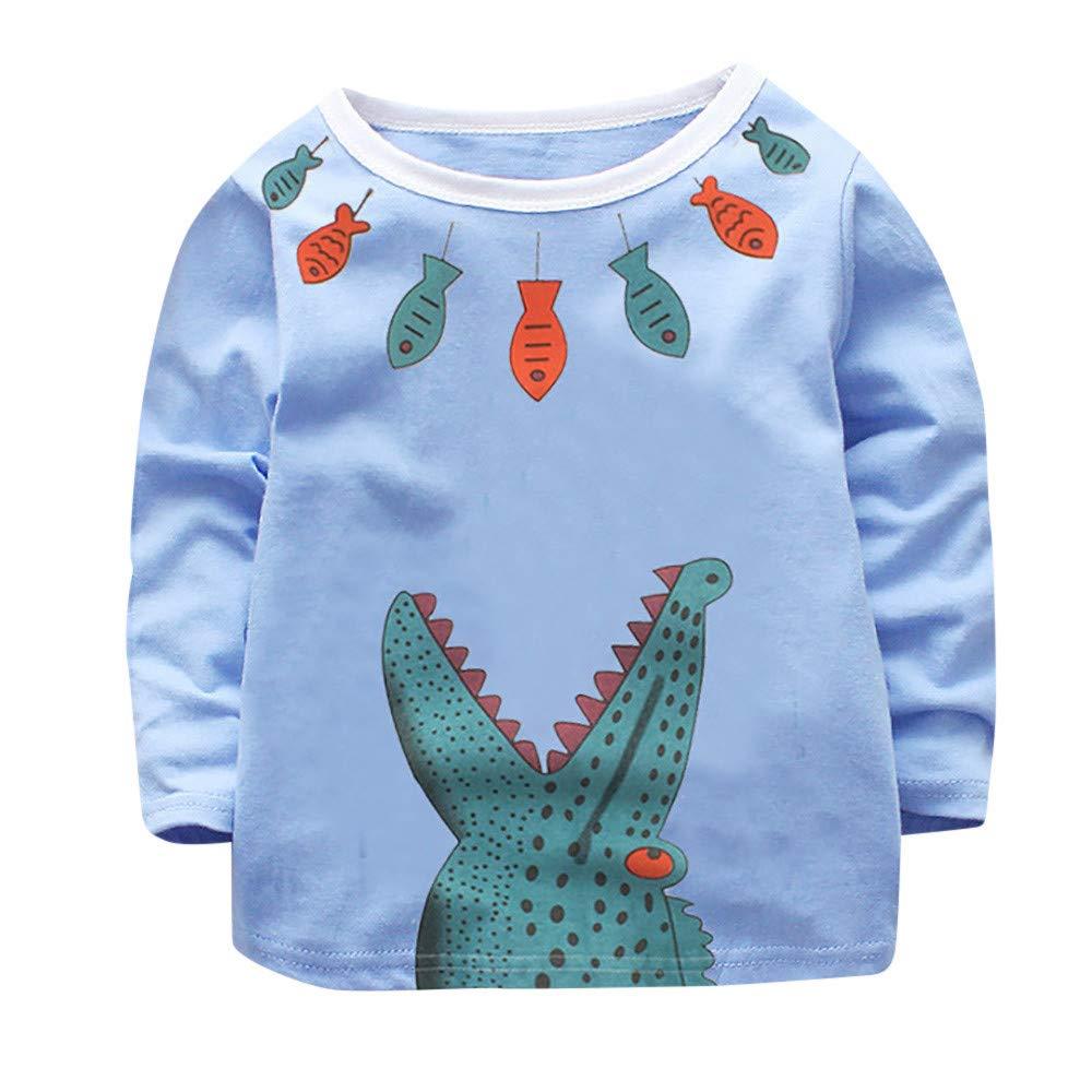 Rosennie Kleinkind Kind Jungen Mädchen Langarmshirt Slim Bluse Herbst Pulli Sweats Langarm T-Shirt Kinder Winter Hoodie Pullover Sweatshirt Baby Krokodil Druck Kleidung Sweatjacke Mode--❤Baby Bekleidung