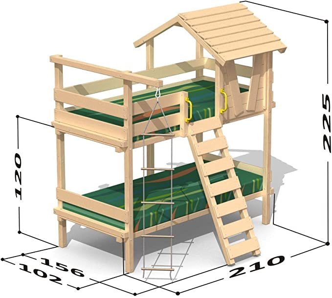 Wickey Bunk Bed Jungle Hut Duo For 2 Childrens Bed With Slatted Base 90 X 200 Cm Amazon De Kuche Haushalt