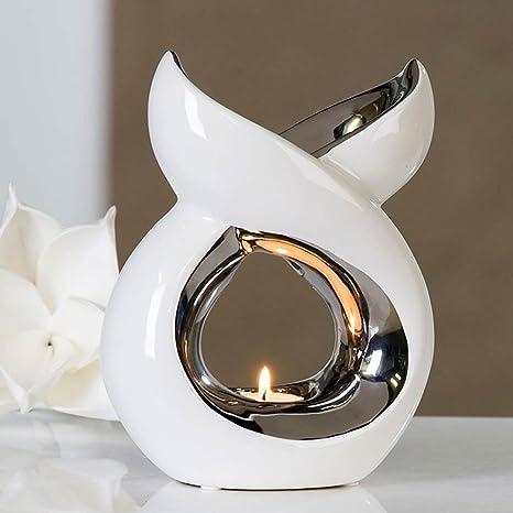 Lámpara de fragancia, quemador de aromaterapia Lago, de cerámica, blanco/Plata, altura 20 cm