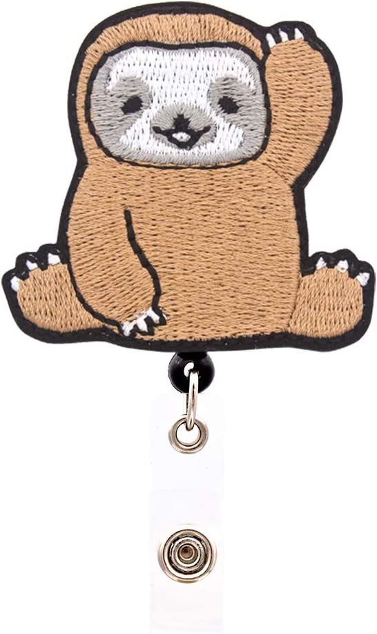 Heyah Cute Sloth Badge Reel, Alligator Clip Retractable Badge Holder, ID Badge Clip for Women Nurse