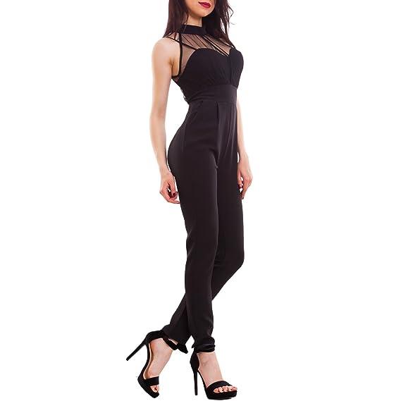 Toocool - Overall donna tuta intera tuta elegante inserti velati vita alta  nuova WD-1759  L 399c1c803bc