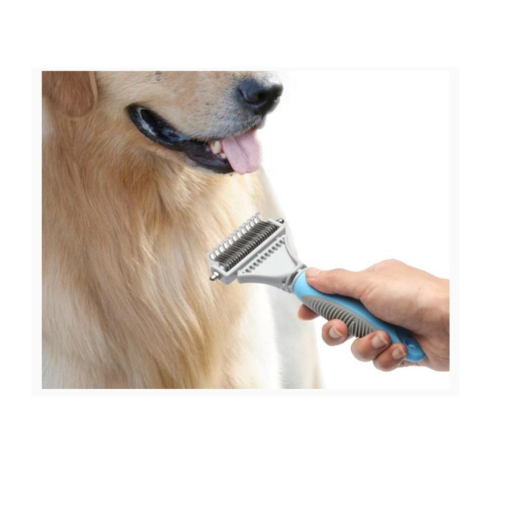 Pet Dematting Tool for Dogs - Dog Grooming Comb Professional Pet Rake Brush with 2 Sided Stainless Steel Grooming for Dogs and Cats with Medium and Long Hair Fur Perfection
