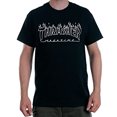 83519b03f6f3 Image Unavailable. Image not available for. Colour: Thrasher Magazine Flame  Outline T-Shirt Black