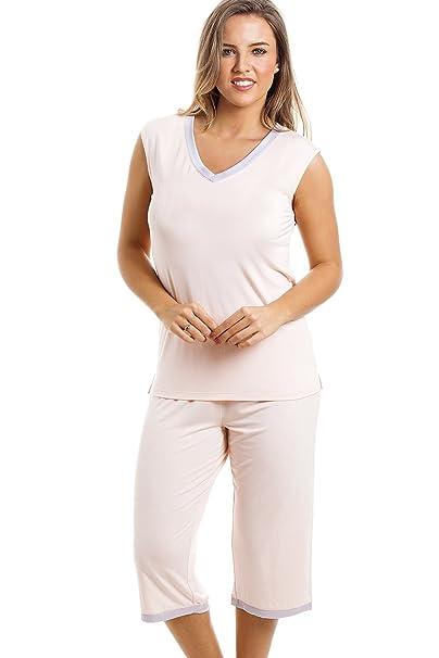 Conjunto de pijama con camiseta sin mangas y pantalón pirata - Melocotón 36/38