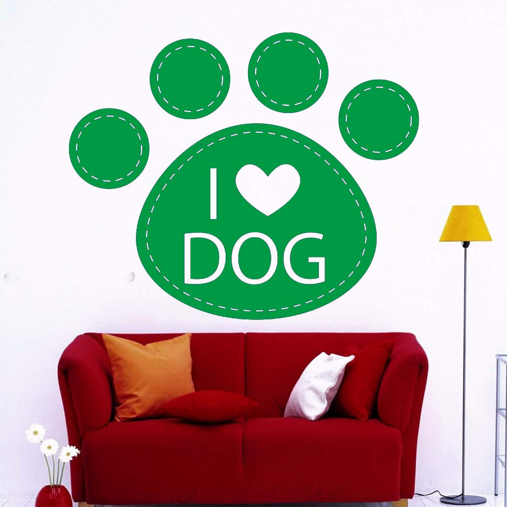 Simple Dog Paw Love Vinilo Adhesivos de Pared I Love Dog ...
