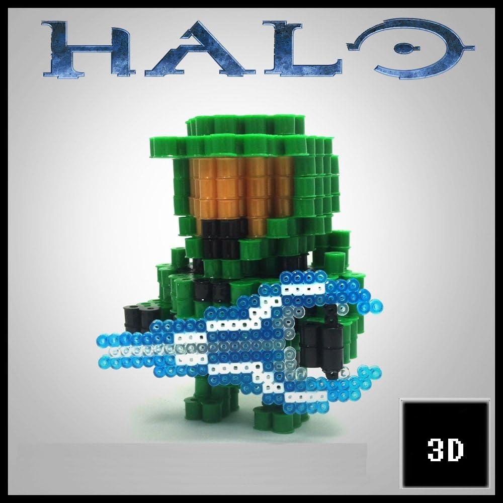 Figuras 3D de Pixel Art hama hechas a mano modelo Halo: Amazon.es ...