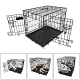 iMounTEK 【Small 24 INCH】 Folding Metal Pet Dog Puppy Cat Cage Crate Kennel W/Tray. 2 Doors Wire Cage for Training, Removable & Washable Pan Tray [Rust Resistant] Quick Assembly! Review