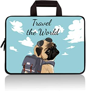 RUYIDAY 11 11.6 12 12.1 12.5 inch Laptop Carrying Bag Chromebook Case Notebook Ultrabook Bag Tablet Cover Neoprene Sleeve Fit Apple MacBook Air Samsung Acer HP DELL Lenovo Asus (Dog)