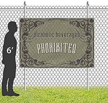 CGSignLab Victorian Gothic Wind-Resistant Outdoor Mesh Vinyl Banner 12x8 Alcoholic Beverages Prohibited