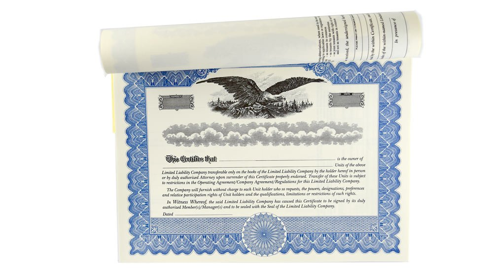 Blank Membership Certificates with Stubs for Limited Liability Company LLC