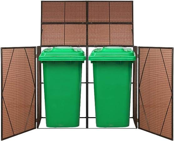 Cobertizo Doble contenedor Basura ratán 153x78x120 cm marrónCasa y jardín Productos del hogar Accesorios para contenedores de residuos Soportes para contenedores de residuos: Amazon.es: Hogar