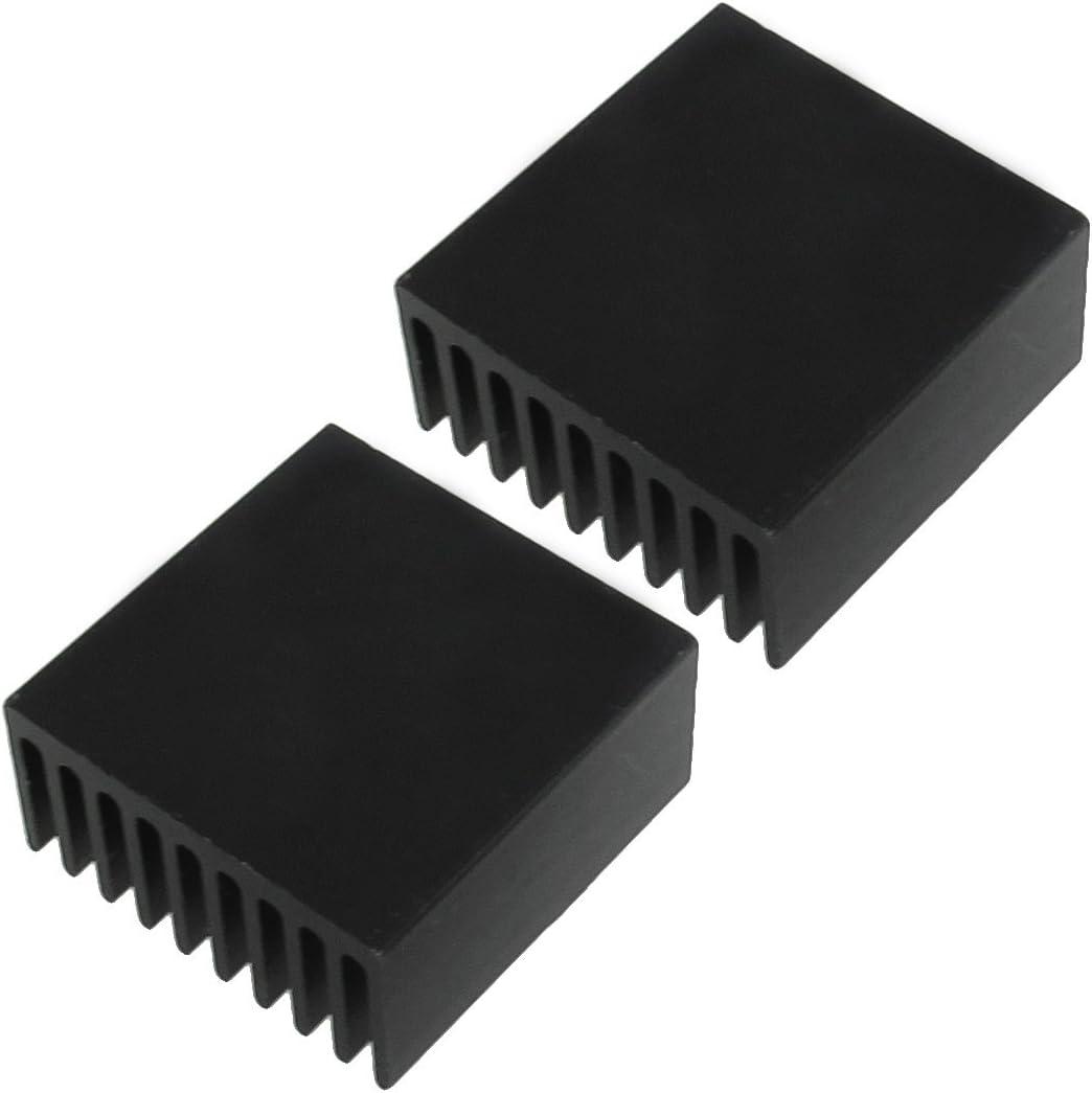 uxcell Aluminum Heatsink Cooling Fins 25 x 25 x 12mm 2 Pcs Black