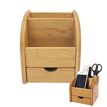 Edobil Boîte De Rangement En Bambou Avec 2 Compartiments Et 1 Tiroir, Pour  Télécommandes,