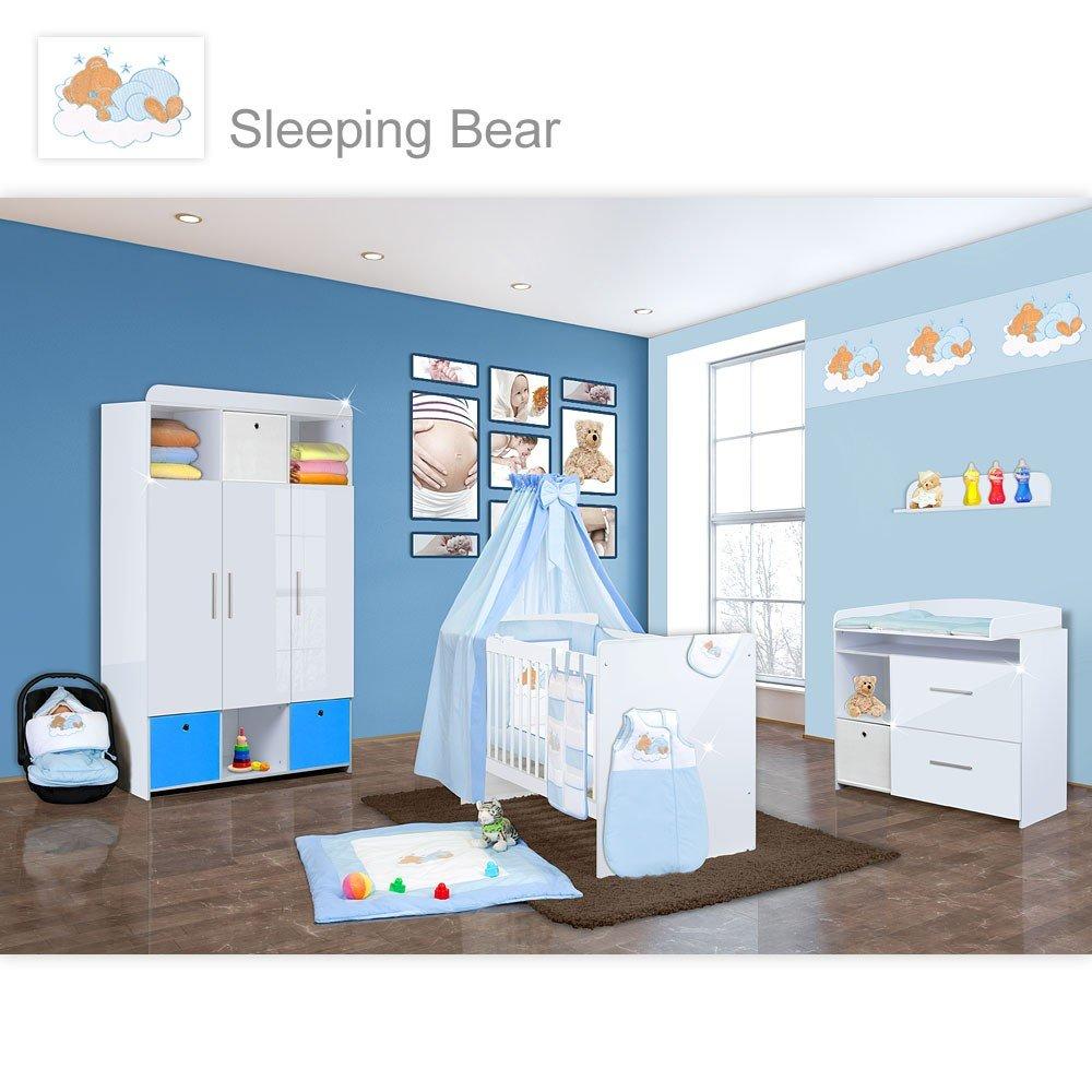Babyzimmer Mexx in Weiss Hochglanz 20 tlg. mit 3 türigem Kl. + Sleeping Bear Blau