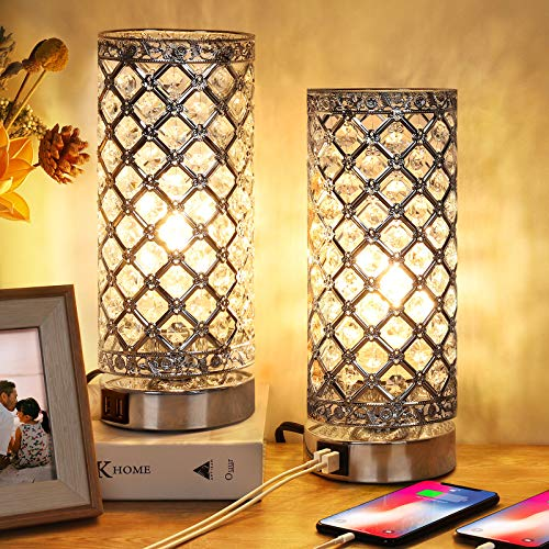 Crystal Touch Control Table Lamp Set of 2, 3-Way Dimmable Bedside Nightstand Desk Lamps with Dual USB Charging Ports…