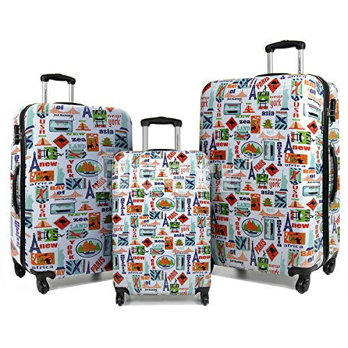 Unibest City Print Hardside Luggage | 8 Wheel Spinner Luggage Set with Built-in Lock and Durable Shell Suitcase