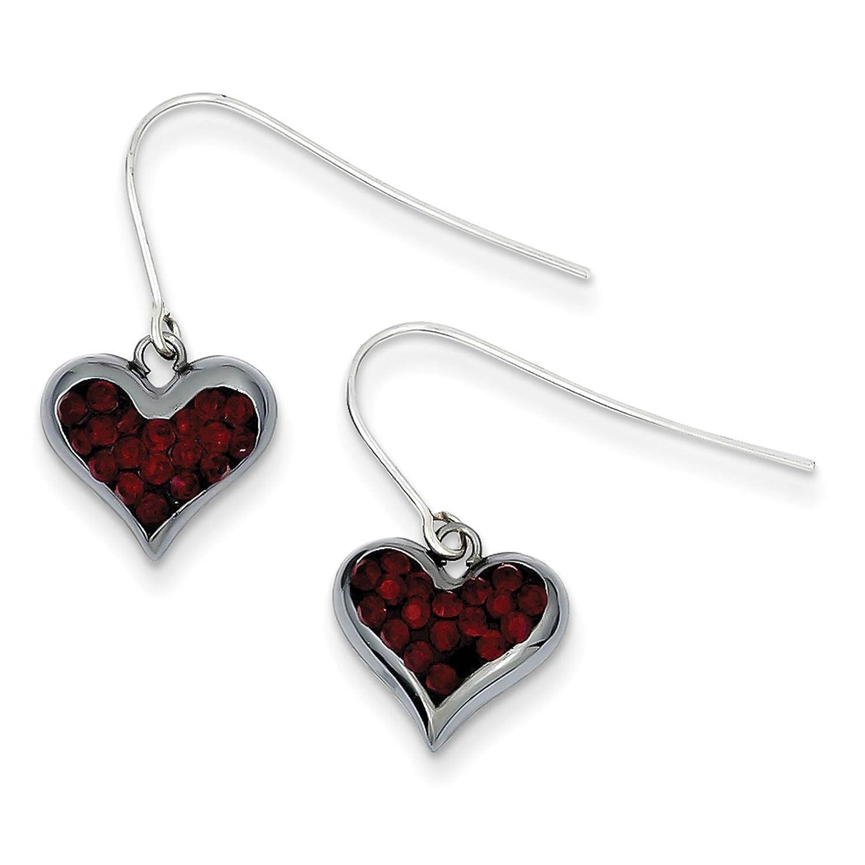 925 Sterling Silver Black-tone w//Crystals Heart Dangle Post Earrings