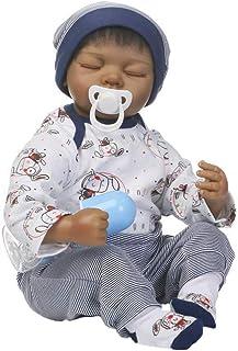 IIWOJ Reborn Baby Doll Simulazione Morbida Silicone Nero Ragazzo Bambola 50Cm Fotografia Puntelli