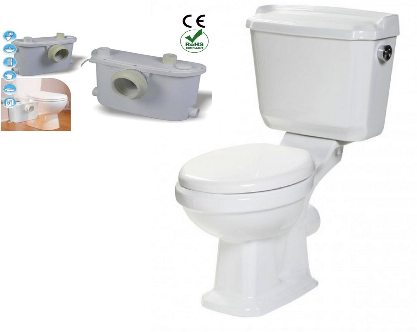 Silent Venus Macerating Upflush Toilet Kit with Standard Bowl (SVT200) by Silent Venus