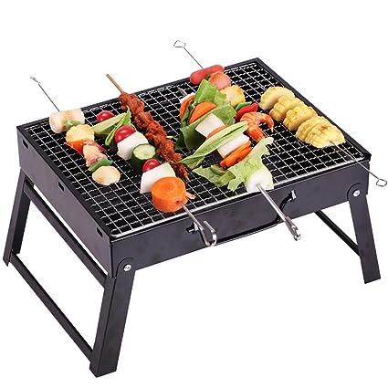 HomJo Barbacoa grill Parrilla de barbacoa de patio plegable al aire libre Jardín de picnic de